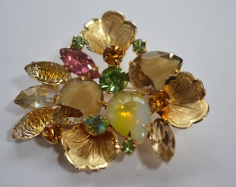DeLizza and Elster Juliana rhinestone and art glass brooch