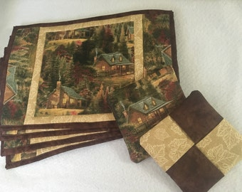 Set of four placemats and two potholders