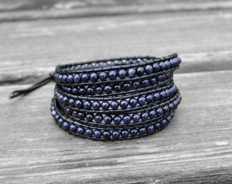 Leather Wrap Pallisandro Classico Bracelet Cuff Leather Bracelet 4mm Charm Bracelet Beaded Bracelet