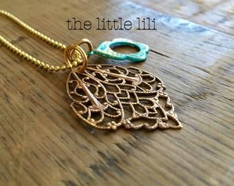 Solid Brass Filigree Drops Pendant - Vintage Necklace - Boho Necklace - Bohemian Necklace.