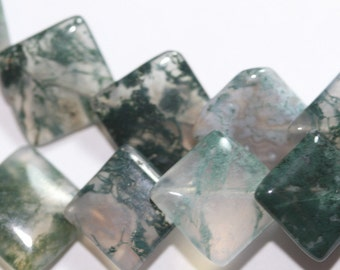 Moss Agate 12x12mm Overlapping Rhombus Beads