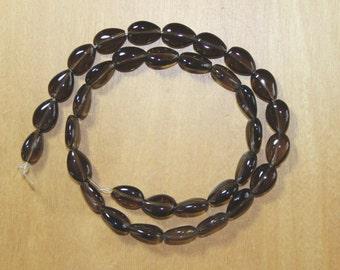 AA Smoky Quartz Teardrop Beads - Full Strand