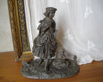 Antique Statuette.  Old Spelter Statuette.