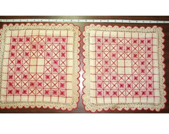 "Red and white hand made Swedish Huck Weave Doilies, Vintage. Each measures 11.5"" by 11.5""."