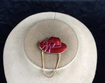 Vintage Red Purple Enameled Dangling Chain Hat Pin