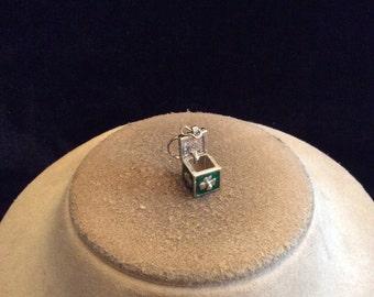 Vintage St Patricks Day Green Enameled Prayer Box Charm Pendant