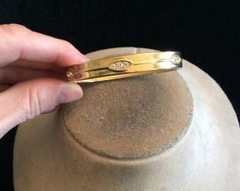 Vintage Hinged Rhinestone Locking Bangle Bracelet