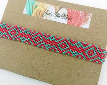 Handmade Aztec Friendship Bracelet / colorful bracelets / embroidery thread bracelets / summer fashion / cute friendship bracelets