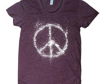 Women's Peace Sign American Apparel t shirt 16 Colors available S M L XL