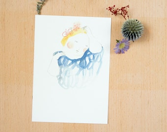 "Postcard ""Beauty fades..."" - 《dodolulu》 - illustration - affordable art - watercolor drawing - quality postcard print"