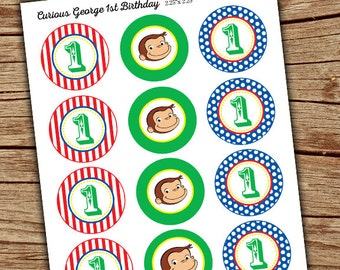 Curious George Stickers/ Curious George Favor Tags/ Monkey Cupcake Toppers/ Curious George Toppers/ Little Monkey Printable Download