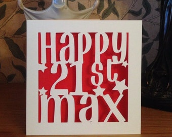 Papercut - Personalised 21st Birthday Card - Happy 21st Card - Coming of Age Card - 18 - 30 - 40 - 50 - 60 - 70 - 80 - 90 - 21st Star Card