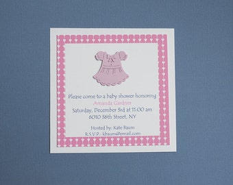 invitations baby girl baptism pink baby gril dress 3d invitations