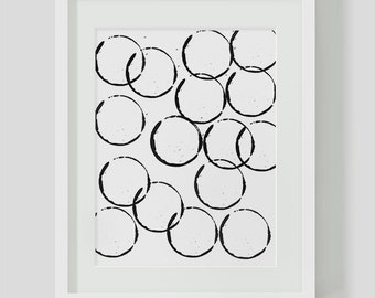 Minimalist Circle INSTANT DOWNLOAD, Minimalist Circles, Black and White Wall Art, Printables, Minimalist Wall Print, Black and White, Modern