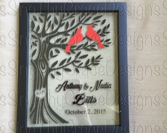 Floating frame 8x10, Tree with love birds, Wedding gift, anniversary gift, bridal shower gift, housewarming gift
