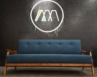 Danish Mid Century  Modern Sculptured Sofa custom built.
