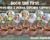 Sofia the First Cupcake toppers, Sofia the First Birthday, Sofia the First Party, Sofia the First Favor Tags, Sofia the First decorations