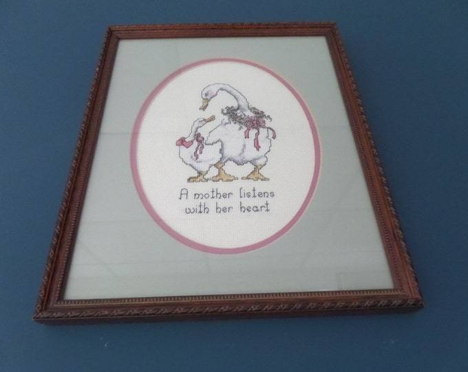 """Wooden Framed Cross Stitch 'A mother listens with her heart' Mother Goose Picture, Professionally Framed, 11.25"""" x 13.5"""", Circa 1995"""