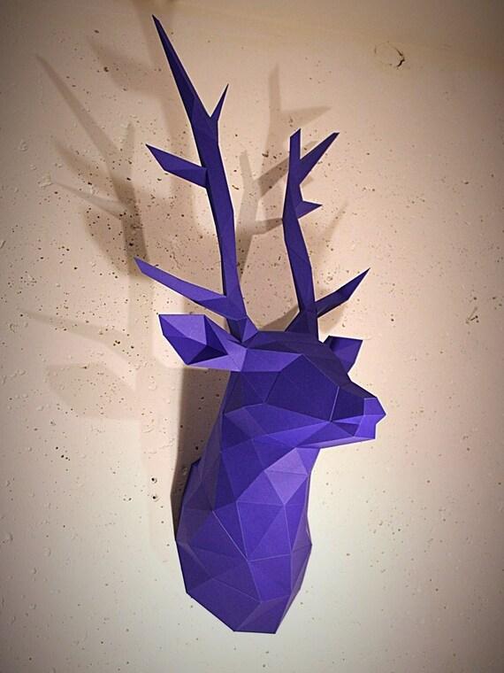 papercraft deer head printable diy template 13 pages. Black Bedroom Furniture Sets. Home Design Ideas