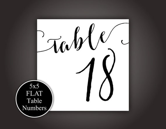 Printable Table Numbers 1-20 5 X 5 FLAT Table Cards