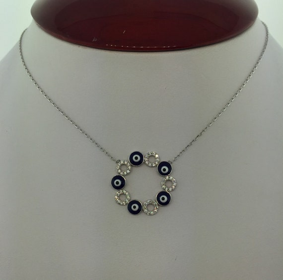 Sterling Silver Circle Evil Eye Necklace
