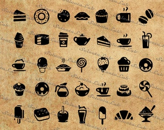 Digital SVG PNG planner stamps, meal planning, food icon, drink icon,  breakfast, desserts, clipart, vector,silhouette, instant download