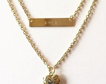 Double strand custom pendant necklace