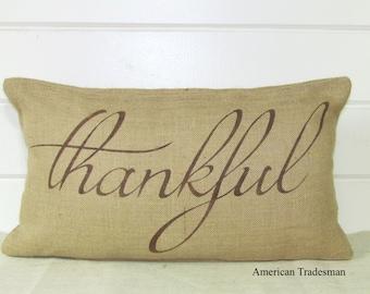 "Burlap Pillow- ""Thankful"", Fall Pillow, Thanksgiving Decor"