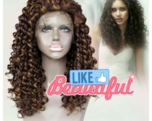 celebrity brown  ombre lace front wig. deep curl full wigs. with baby hair heat safe. natural realistic hair line. high quality.