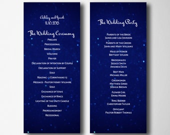 Navy wedding program template Night wedding program Instant download Light wedding program diy Order of ceremony Modern wedding T45