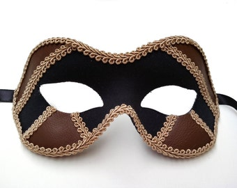 Black/Brown Male Masquerade Mask U931