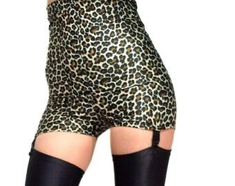High waisted leopard print spandex black suspenders shorts hot pants