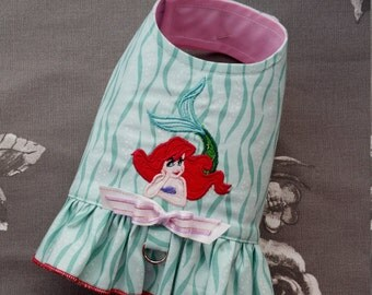 Dog Harness Chihuahua Little mermaid short dress outfit, Puppy Dog petit Clothes Chihuahua Coat outfit  XS