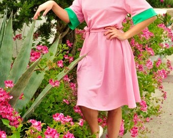 mesh pink/green/fuchsia retro 3/4 circle dress