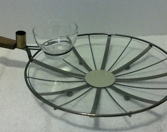 Vintage Appetizer Dish with Dip and Toothpick Holder