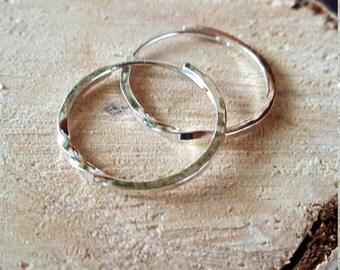 Twisted Silver Hoops Earrings