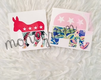 GOP or DEM Lilly Pulitzer Inspired Vinyl Decal - Elephant or Donkey