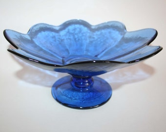 Cobalt Blue Flower Petal Serving Dish