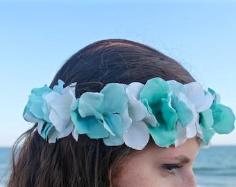 Flower Crown, Flower Headband, Floral Crown, Floral Headband, Coachella, Music Festival, Rave Accessory - Seafoam Blue and White Hydrangeas