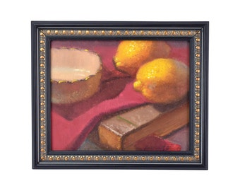 "Still Life Oil Painting ""Lemons with China"" signed Hall Groat II NY artist"