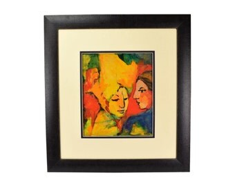 Mid-Century Modern Oil Painting on Masonite Abstracted Portrait of Couple