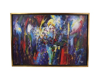"""Vintage Sevki Kuzay Abstract Expressionist Oil Painting """"A Bouquet"""""""