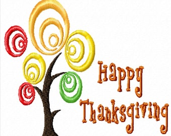 Happy Thanksgiving Circle Tree -A Machine Embroidery Design for Thanksgiving