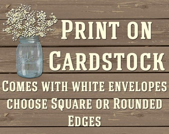 PRINTING SERVICES For 4x6 and 5x7 Cards, INCLUDES White Envelopes, Cardstock, High Quality