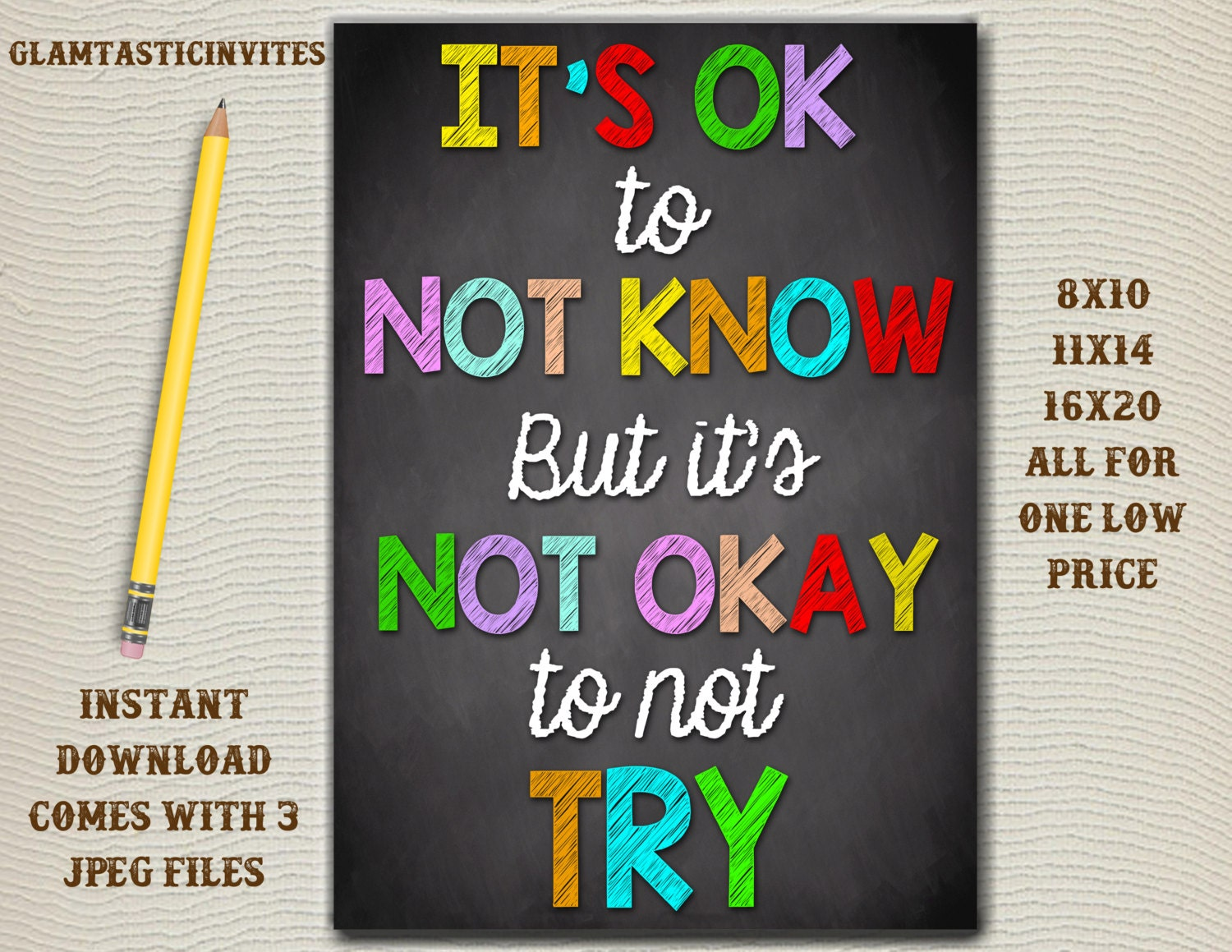 Classroom Decoration Ideas Quote ~ Classroom decor teacher it s ok to not know
