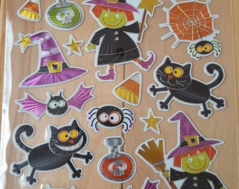 Halloween Witch and Black Cat Sticker Sheet