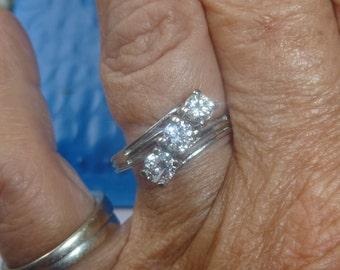 Estate .80 CTW Trilogy Diamond Ring 14Kt WG Sz 8.5