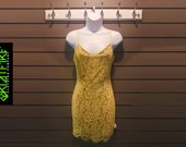 Classic Cut Lace Dress With Adjustable Shoulder Straps in Mellow Yellow Floral Lace Design Over BeigeGold Under Garment. Summer Dress
