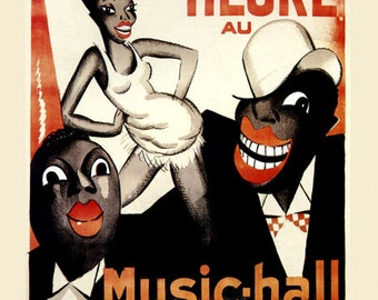 Theater Revue Negre Music Hall Champs Elysees France French Vintage Poster Repro Free S/H in USA