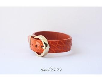 crocodile genuine leather bracelet - Luxury style color Tiger Dark Chocolate Midnight Blue   Handmade